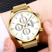 Load image into Gallery viewer, SHAARMS Fashion Mens Simple Dial Wrist Watches Casual Luxury Mesh Belt Strap Quartz Watch Clock Men Dress Watch Reloj