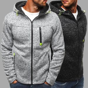 New Autumn and Winter Men's Hoodies Contrast Color Slim Thickened Fleece Hoodies