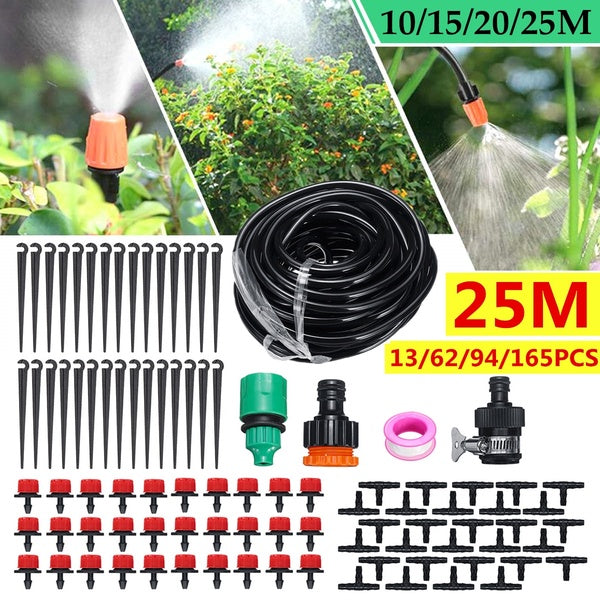 10/15/20/25M 13/62/94/165Pcs DIY Garden Micro Drip Irrigation System Hose Kits Plant Flower Watering Sprinkler Patio Water Mister