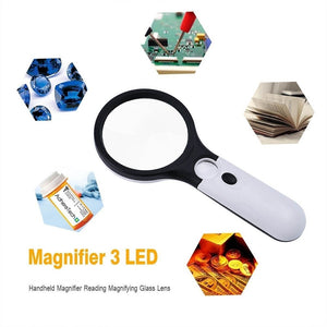 3X Waterproof For Seniors Lens Newspaper Microscope Handheld Magnifier Magnifying Glass Led Light Jewelry Watch Loupe