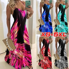 Load image into Gallery viewer, New Women Fashion Casual Spaghetti Strap Sleeveless Colorful Print Dress Loose V-neck Vestidos Long Dress Off Shoulder Robes Maxi Dress Plus Size XS-5XL