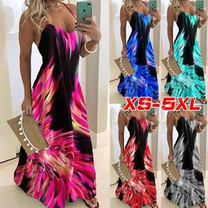 New Women Fashion Casual Spaghetti Strap Sleeveless Colorful Print Dress Loose V-neck Vestidos Long Dress Off Shoulder Robes Maxi Dress Plus Size XS-5XL