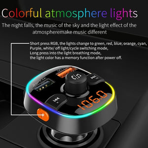 Colorful Car Fast Phone Charger Bluetooth Player U Disk Hands-free Kit USB Phone Charger Car Cigarette Lighter FM Transmitter
