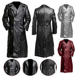 New Autumn and Winter Men's Leather Jacket Coat Punk Motorcycle Jacket Gothic Long Leather Jacket S-5XL