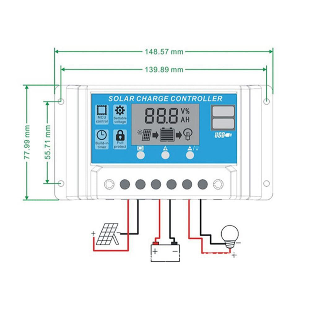 12V/24V HD LCD Auto Work Solar Charge Controller PWM Dual USB Output Charger