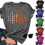 Plus Size S-5XL New Summer Fashion Women Happy Fall Y'all Letter Print Halloween T-Shirts Pumpkin Graphic Print Funny Tops Solid Color O-Neck Loose Blouse Short Sleeve Casual Cotton Tee 6 Colors