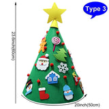 OURWARM PARTY DIY Felt Toddler Christmas Tree 2020 New Year Kids Gifts Toys 3D Artificial Xmas Tree Home Decoration Hanging Ornaments