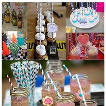 Load image into Gallery viewer, 50-Pack Biodegradable Paper Straws Multicolor Disposable Drinking Straws for Birthday Wedding Party Baby Shower