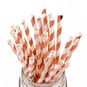 50-Pack Biodegradable Paper Straws Multicolor Disposable Drinking Straws for Birthday Wedding Party Baby Shower