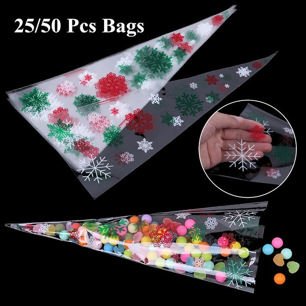 25/50PCS Wedding Favors Transparent Cellophane Xmas Pattern Party Supply Cone-Shaped Christmas Candy Bags Gift Pouch Popcorn Pocket Pastry Bags Christmas Gifts Bags
