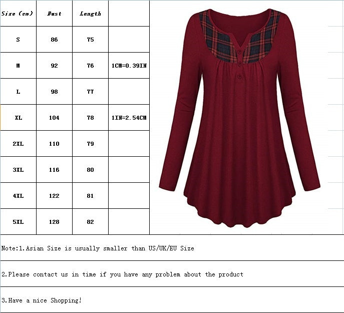 Womwn Autumn Stitching Color Long Sleeve Shirts Pleated Plus Size Daily Blouse Casual Pacthwork Elegant Pullover Tops