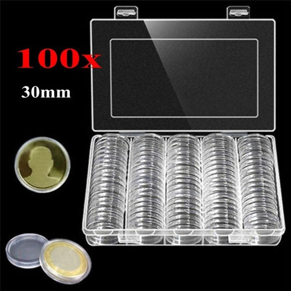 30mm Coin Storage Box Round Boxed Coin Holder Plastic Capsules Organizer