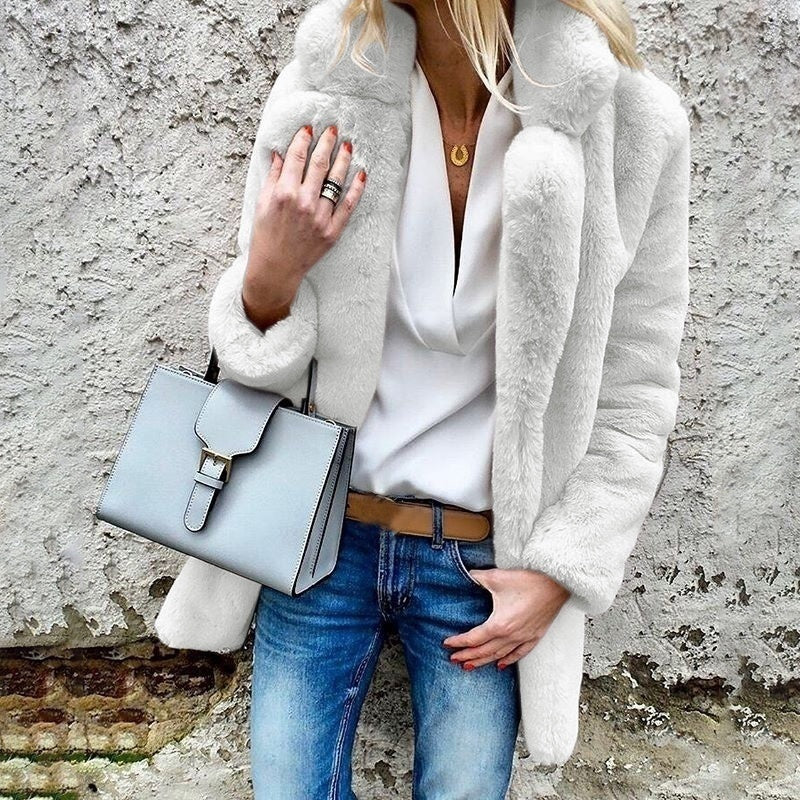 Women  s Fashion Autumn and Winter Loose Furry Cute Warm Plush Lapel Solid Color Jacket Outdoor Casual Faux Fur Soft Sweet Coat Jacket