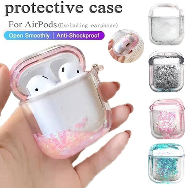 Luxury Bling Glitter Case for Apple Airpods Case Transparent Crystal Quicksand Bluetooth Earphone Cover Protect Bag Women Gift