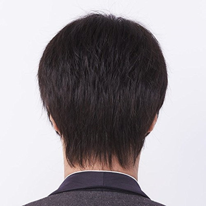 Men's Wig Shaggy Hairstyle High Temperature Synthetic Hair Wig Black / Blonde Haircut PS Wig Cap Straight Cosplay Daily Male Wigs for Men