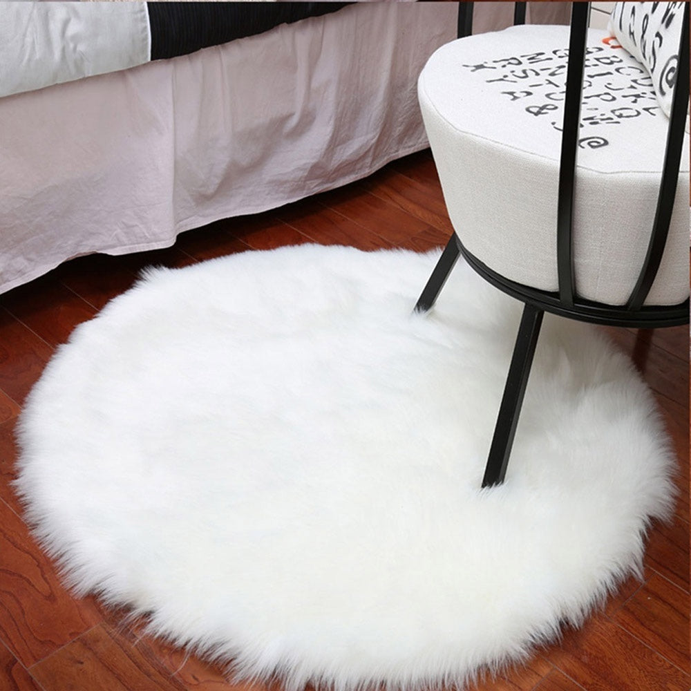 30cm Plain Fluffy Area Rugs Round Pad Carpet Hairy Fur Bedroom Carpet Mat Cover