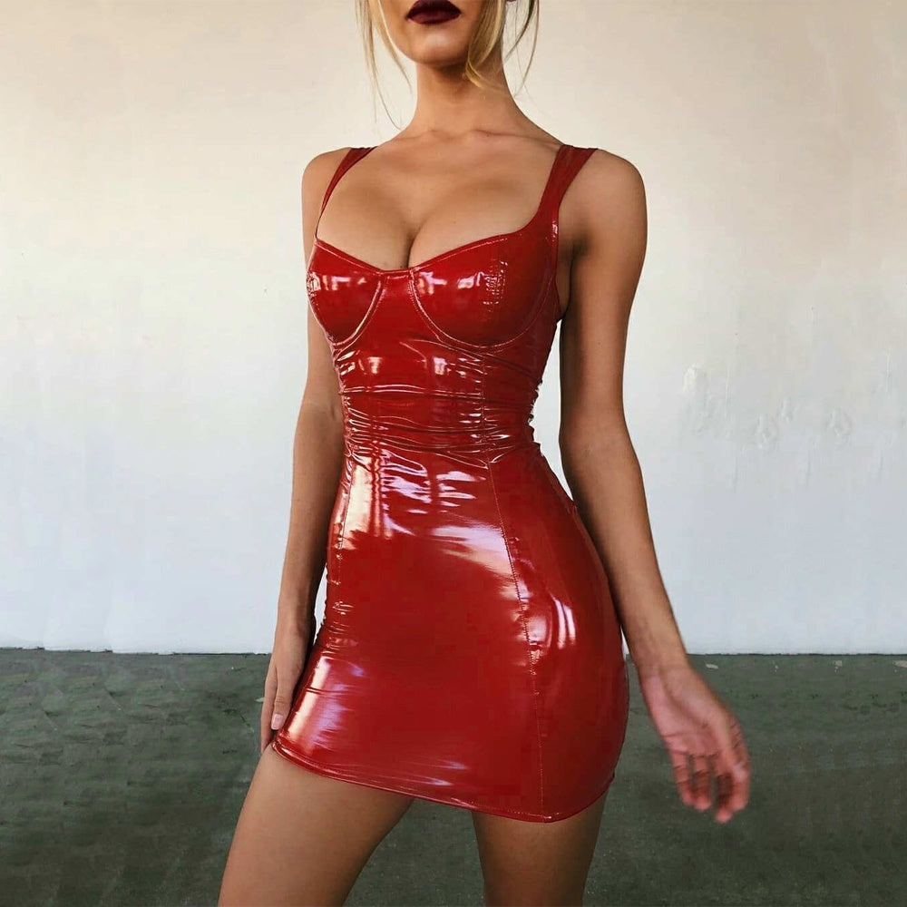 Bright Patent PU Leather Bodycon Dress Women Red Black Mini Sexy Dresses Woman Party Night Club Wear