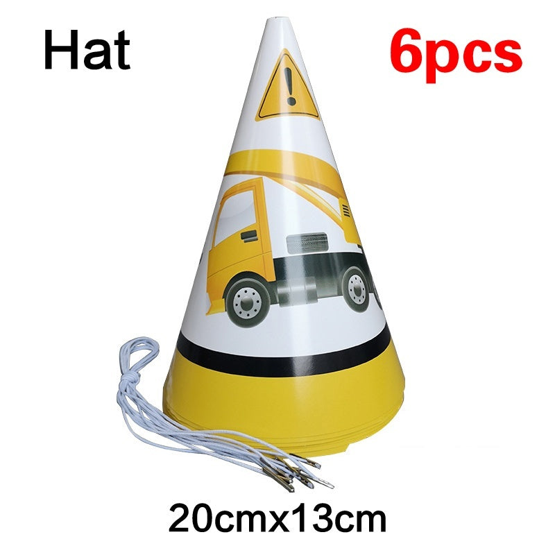 Cartoon Party Decorations Excavator Construction Vehicles Paper Cup Plate Banners Kids Birthday Baby Shower