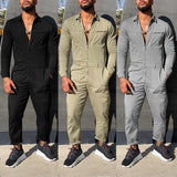 3 Colors Autumn Men's Fashion Overalls Rompers Street Male Long Sleeve Cargo Pants One Piece Casual Jumpsuit Plus Size