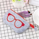 Felt Women Men Zipper Eyeglasses Bag Sunglasses Case Eyewear Accessories