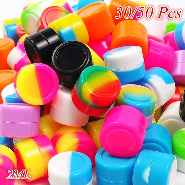 30/50PCS 2ML Silicone Container Mini Round Multifunction Mult-Color Silicone Jars Kitchen Storage Oil Wax Box Rubber Container