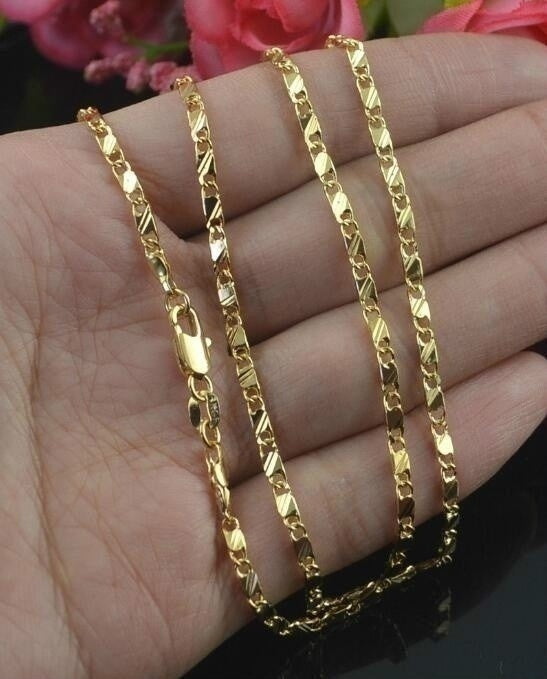 Hot Fashion Classical 18K Yellow Gold Filled Necklace/Men&Women 16-30 inches Gifts