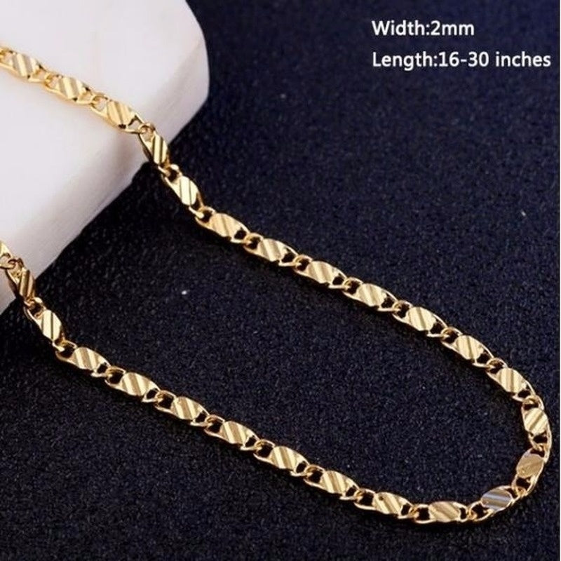 Exquisite Luxury Genuine Gold Color Filled Golden Chain Necklace Size:16-30