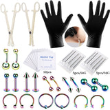 1 Set Piercing Jewelry Needles Kit Sex Belly Tongue Eyebrow Nipple Lip Nose Disposable Body Piercing Jewelry Tool Sets