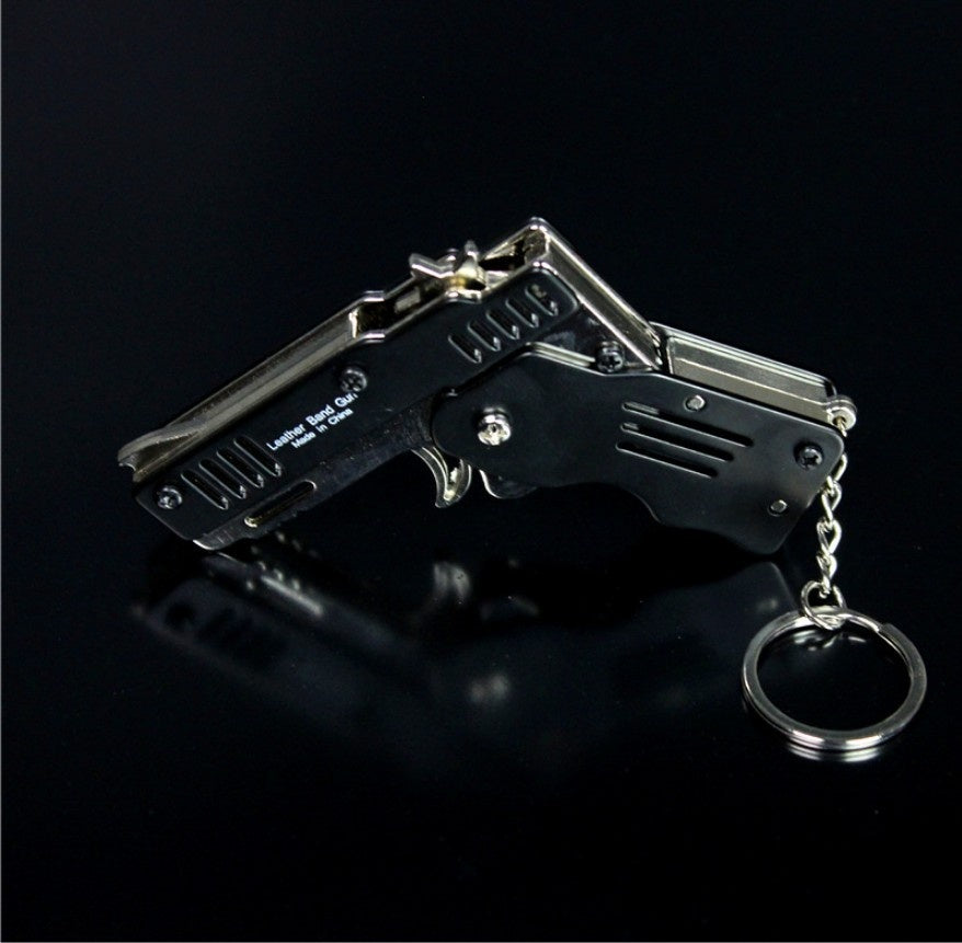 All Metal Mini Folding Rubber Band Gun Outdoor Military Sport Toy Key Chain key Ring Children's Birthday Gift Decompression Game