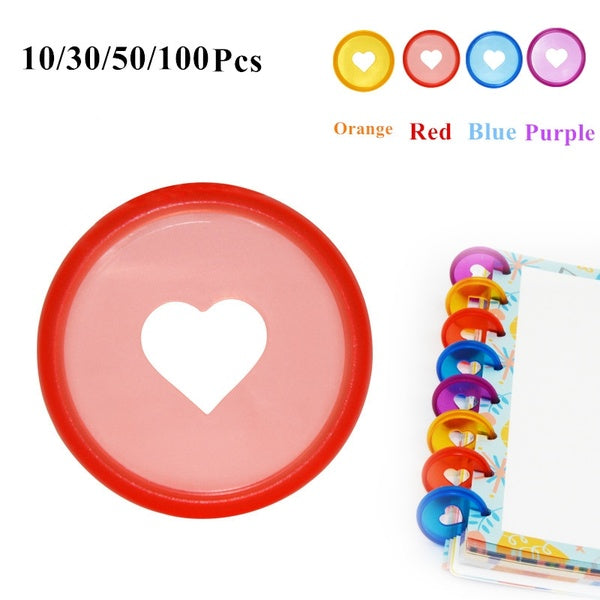 10/30/50/100 Pcs Candy Color Heart Disc Binder for Discbound Notebooks or Planner 28mm Mushroom Hole Diy Discbound Discs Loose Leaf Binding Rings A1911-35-LF19-308