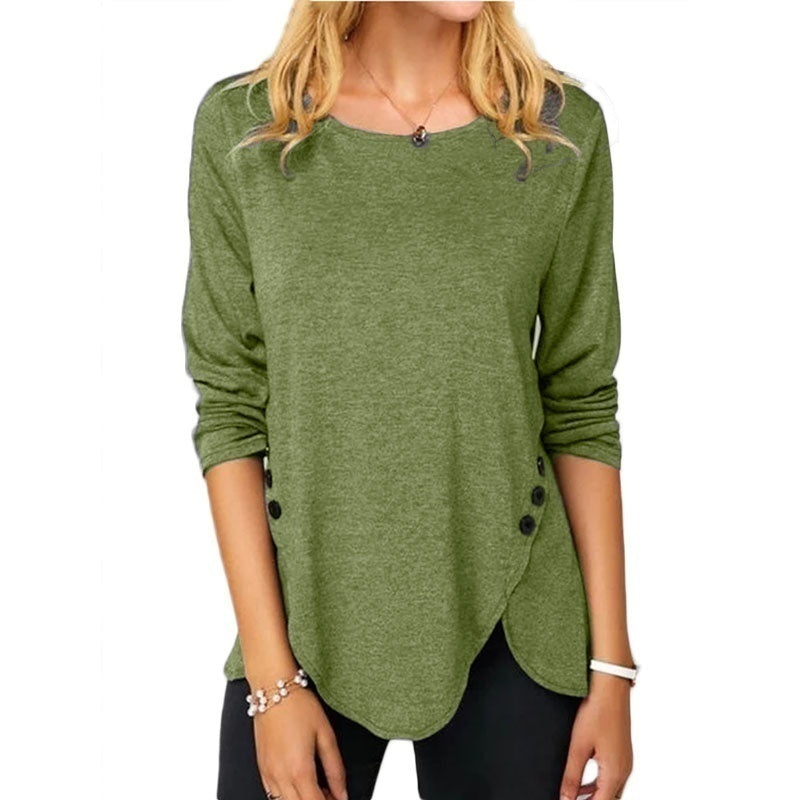 Women's Causal Solid Color Irregular Shirts Round Neck Button Stitching Loose Blouses Ladies Plus Size Pullover Sweatshirts Long Sleeve Cotton T-shirts