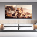 3pcs Nordic Style Home Decoration Paintings Lion and Cub Animal Picture Landsacpe Wall Art Canvas Paintings for Living Room Decor ,Unframed