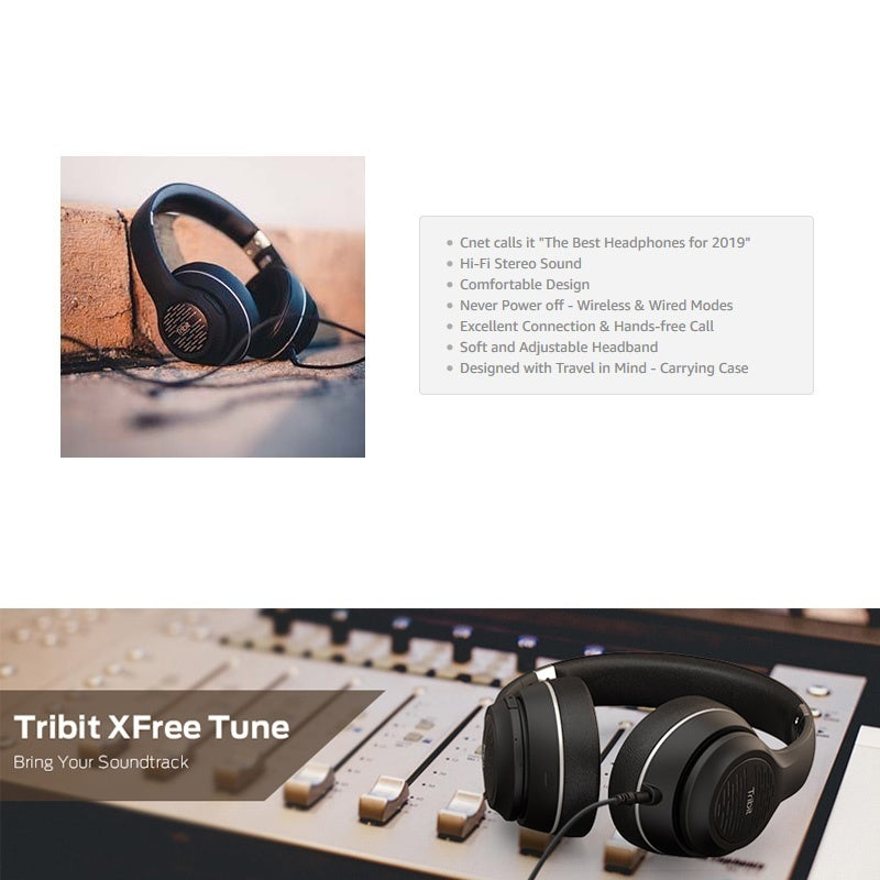 Hi-Fi Stereo Sound with Rich Bass 40 Hrs Playtime Tribit XFree Tune Bluetooth Headphones Over Ear Wireless Headphones Built-in Mic, Soft Earmuffs - Foldable Headset with Carry Case, Black