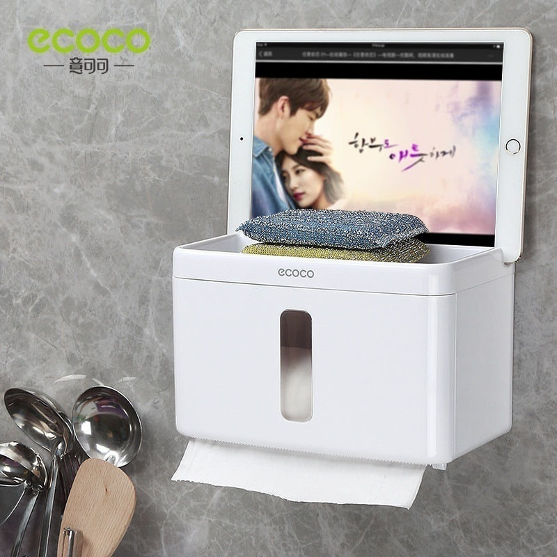 New Wall-mounted Press-open Waterproof Double-deck Paper Towel Boxes Rolled Paper Towel Boxes Toilet Belts Drawers and Shelves