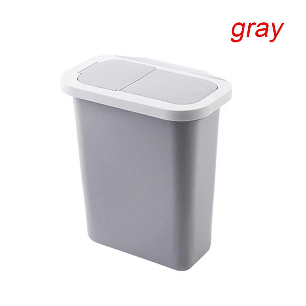 White/Gray Cabinet Door Hanging Trash Can with Lid Garbage Bin Waste Storage Home Kitchen