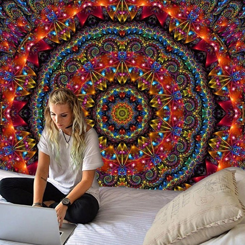 Fashion Tapestry Colorful Yoga Mat Tapestry Hippie Tapestry Psychedelic Tapestry Bohemian Mandala Tapestry Home Decor(150cm*130cm/200cm*150cm)