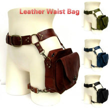 Load image into Gallery viewer, Steampunk Leather Fanny Pack Vintage Handmade Leather Waist Bag Fashion Hip Bag Medieval Leather Utility Belt Bag Fantasy Leather Purses Larp Cosplay Accessories