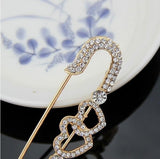 Fashion Vintage Women Double Heart Rhinestone Crystal Brooch Pins for Women ladies Jewelry gift