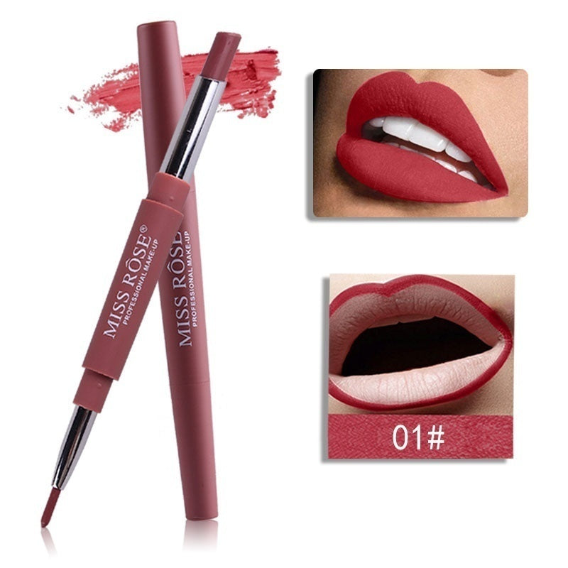 New Brand Lip Matte Makeup for Women Long Lasting Pigment Red Nude Lip Liner Double Ended with Matte Miss Rose Lipstick Christmas Gifts