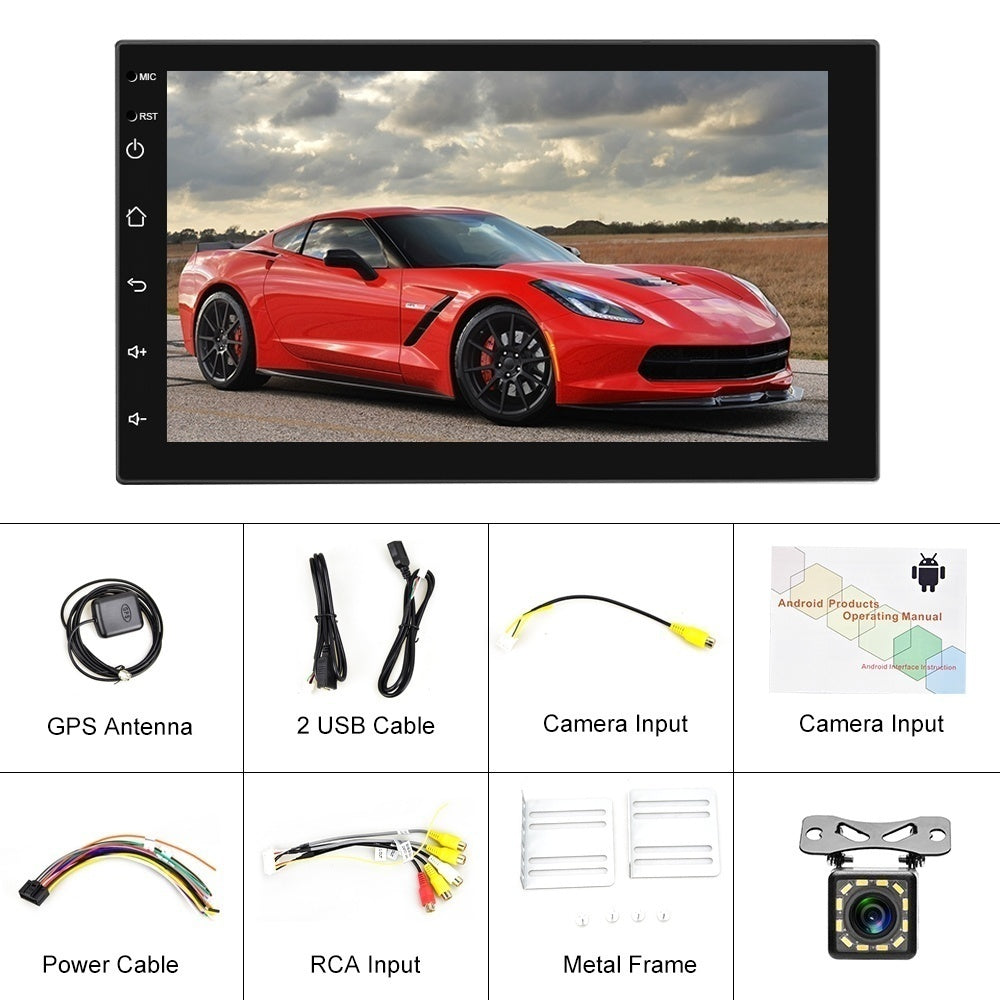 Double Din Android 9.1 GPS WIFI Bluetooth Car Stereo Radio 7'' 2.5D TFT Capacitance Touch Screen Car MP5 Player FM Radio Receiver Suppport Rear Camera
