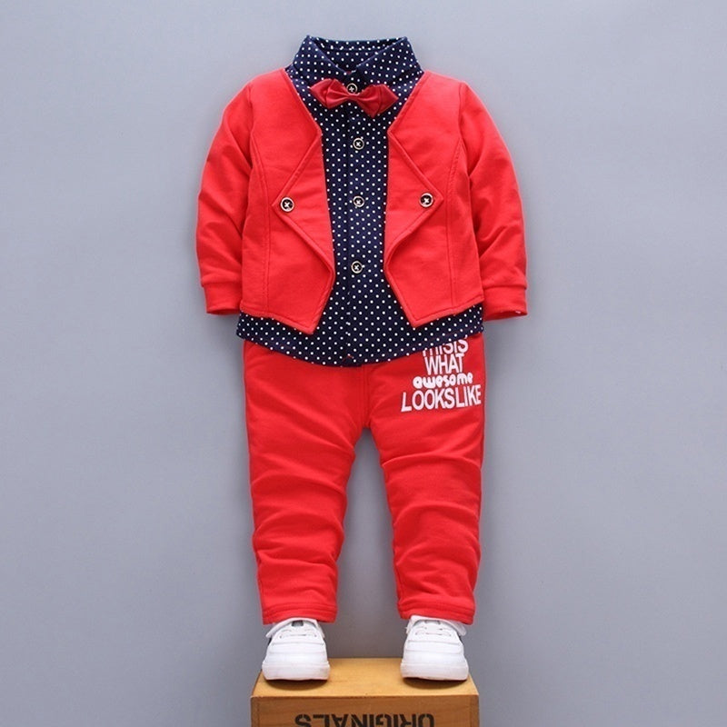 2PCS Toddler Baby Boy Kid Infant Fashion Shirts Tops+Pants Outfit Set