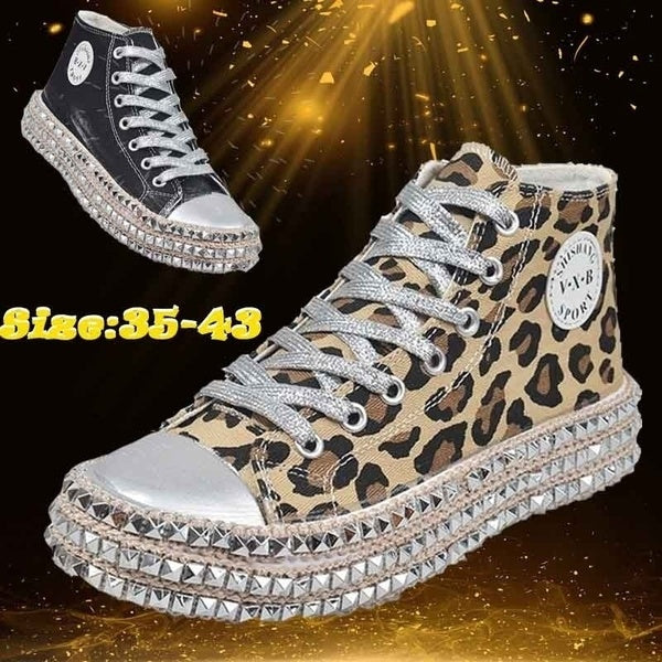 Women Casual Leopard Rivet Embellished High Top Shoes Lace Up Flat Shoe Flattie Sneakers Comfortable Sapatos Femininos Flats Chaussure Femme Canvas Shoes Plus Size