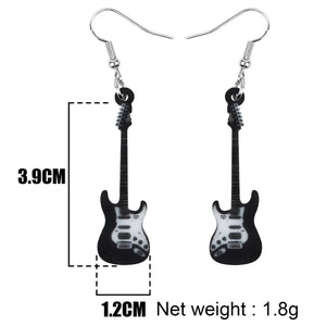 Acrylic Anime Black Electric Guitar Earrings Dangle Drop Jewelry Musical Instrument Decoration Ornaments For Women Girls Teens Kids Charms Party Gift Novelty Rock Accessory