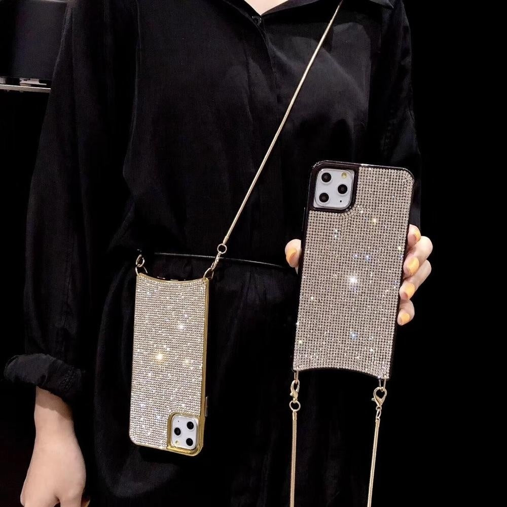 Rhinestone Diamond Crossbody Case For iPhone XS MAX XR X 6 8 7 Plus 11 Pro Max Cover Women With Long Strap Metal Chain
