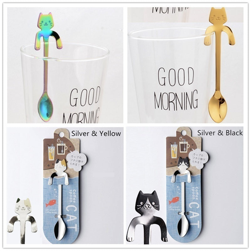9 Colors Cute Cat 304 Stainless Steel Spoon Suspended Coffee Stirring Spoon Kitchen Gadget Creative Band Tied Card Gift Spoon