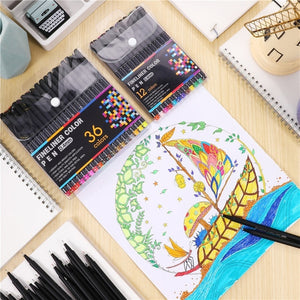 12 Colors Set 0.38MM Fine Liner Colored Marker Pens Watercolor Based Art Markers For Manga Anime Sketch Drawing Pen Art Supplies