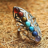 Fashion 925 Sterling Silver Jewelry Ring Adjustable Healing Hollow Stone 7 Chakra Reiki Gem Ring Wedding Engagement Party Ring