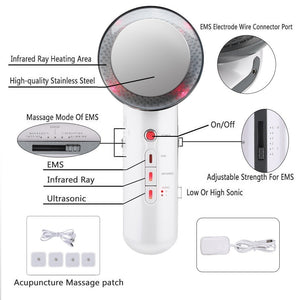 Upgrade 6 In 1/3 IN 1 Ultrasonic Infrared Micro-current EMS Body Slimming Massager Face Lifting Massager Anti Cellulite Massage Fat Burner Weight Loss