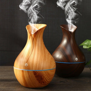 Fashion 7 LED Changing Color Cool Mist Wood Grain Ultrasonic Purifier Aromatherapy Humidifier USB Essential Oil Diffuser Home Decor