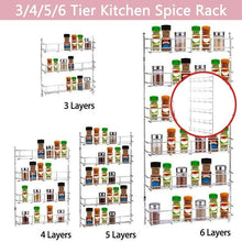 Load image into Gallery viewer, 3/4/5/6 Tier Kitchen Spice Rack Silver Color Cabinet Shelf Organizer Storage Wall Mount Holder